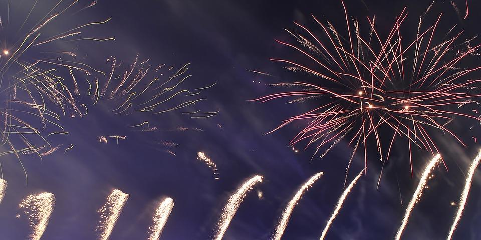 fireworks, night, pyrotechnics