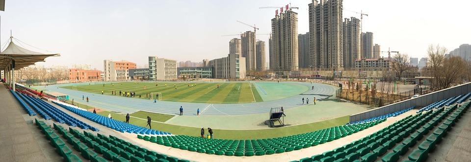 stadium, athletic track, football