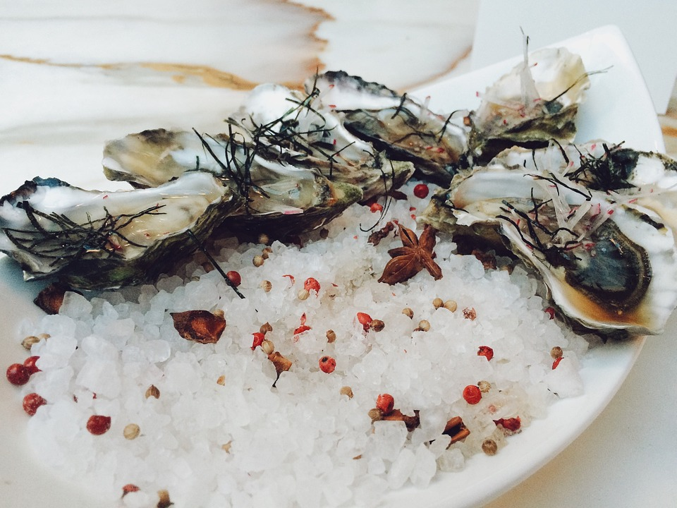 oysters, seafood, shells