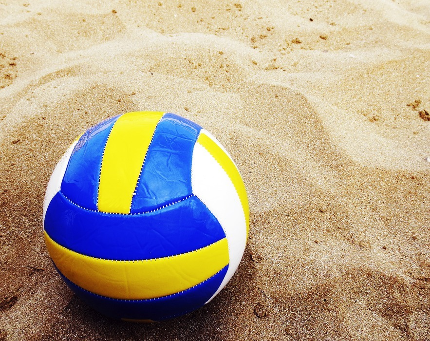 beach volleyball, ball, sand