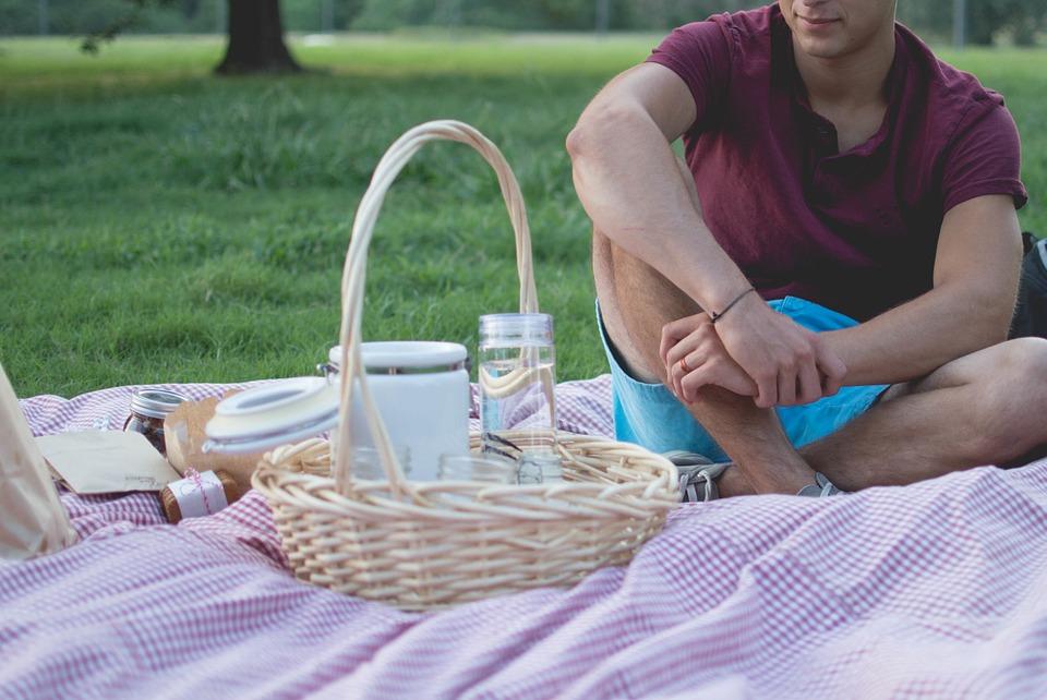 picnic, man, basket