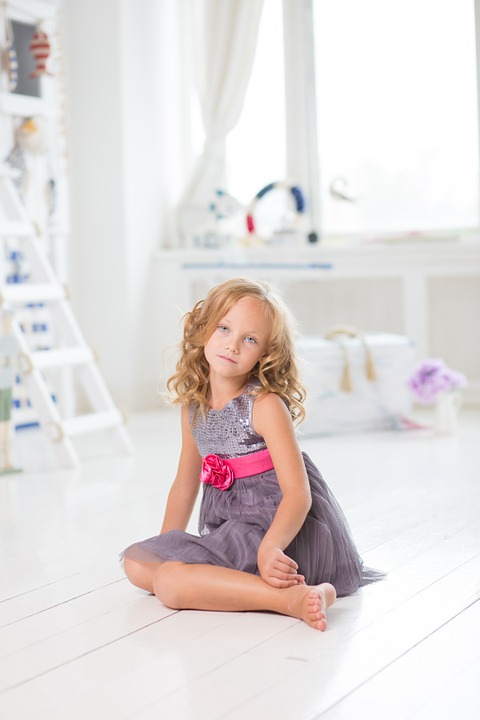 girl, sitting, young