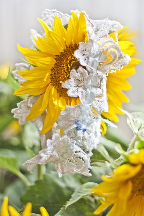garter, wedding, sunflower