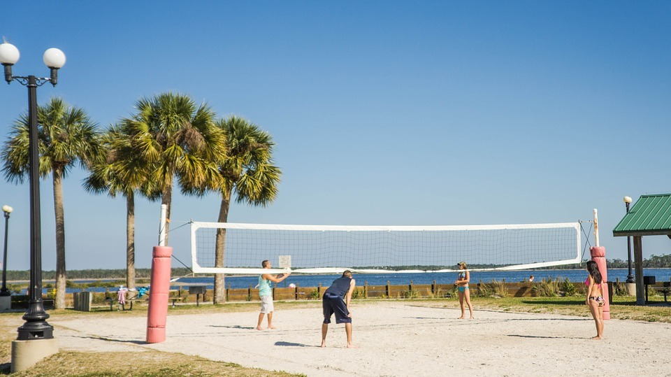 beach volleyball, volleyball net, pine island