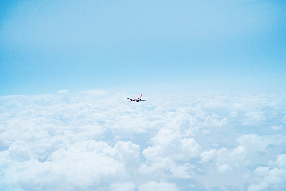 airplane, above the clouds, sky