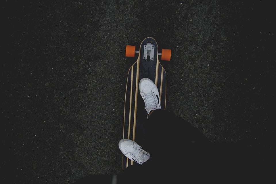 skateboard, feet, white tennis shoes