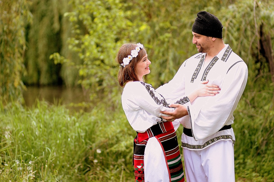 family, traditional costume, romania