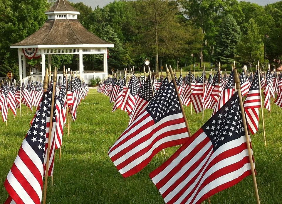 flags, american, memorial day