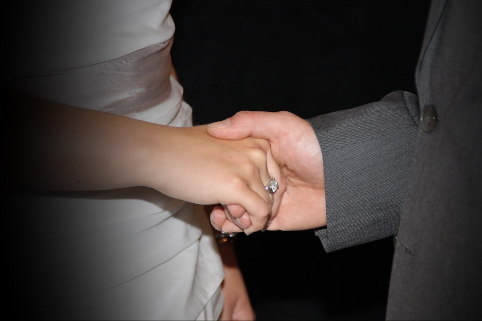 holding hands, wedding, ring
