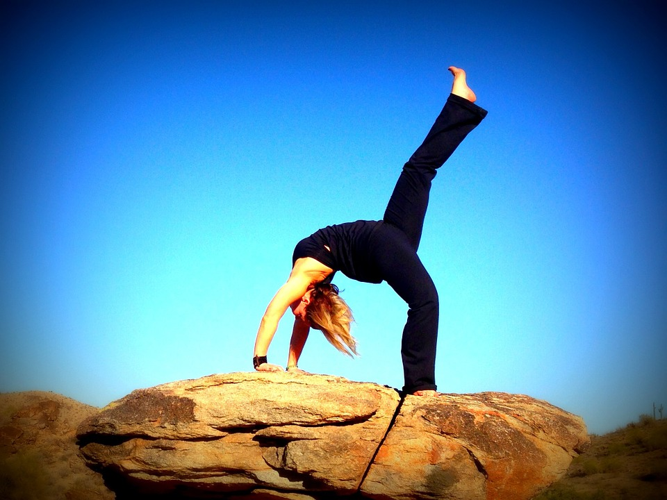 yoga, backbend, blue sky