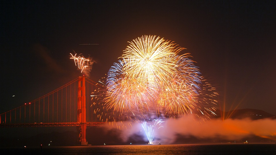 fireworks, golden gate bridge, san francisco