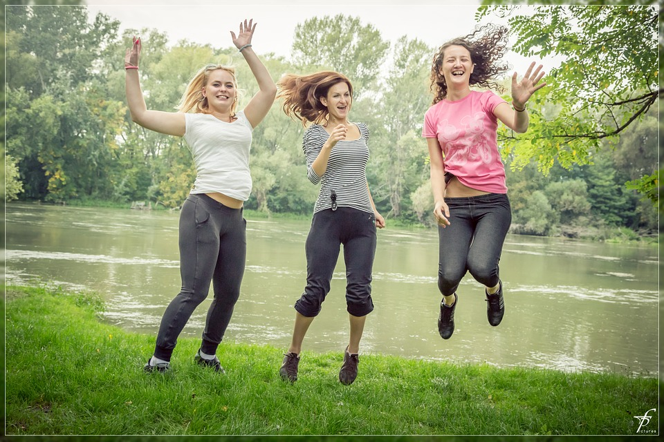 jumping, jump, happy people