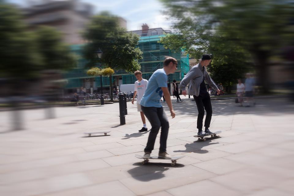 skateboard, roll, move
