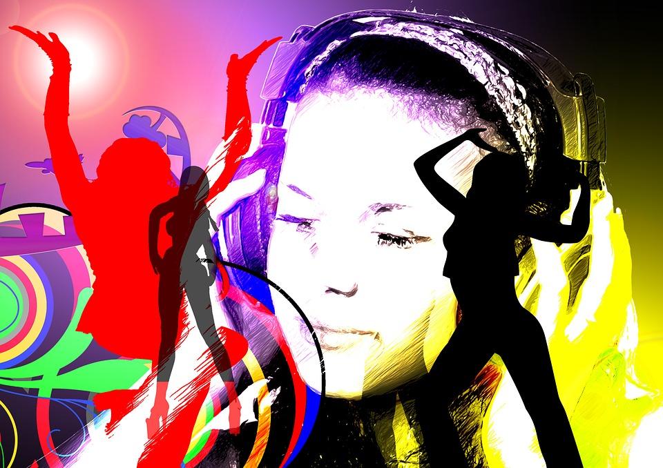 girl, headphones, party