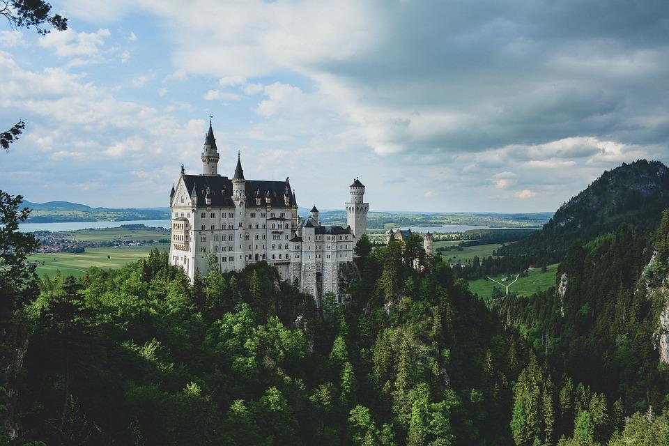 neuschwanstein, castle, hillside