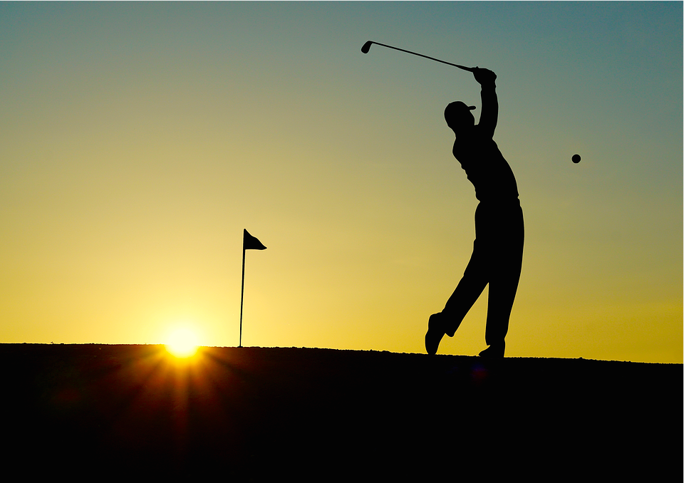 golf, sunset, sport