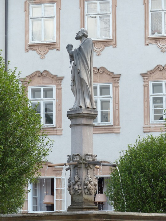 fountain, statue, saint rupert